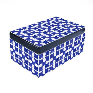 Medallion Square Blue Ceramic Box