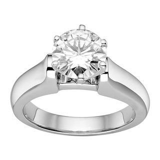 Charles and Colvard Sterling Silver 1.9ct Round-cut Moissanite Fashion Solitaire Ring