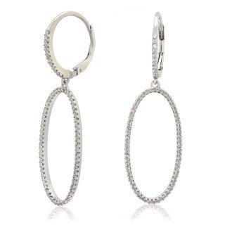 Gioelli Sterling Silver Cubic Zirconia Open Oval Leverback Earrings