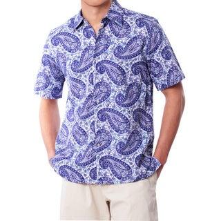 Men's Purple Paisley Linen Shirt