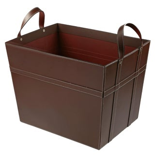 Brown Leather Magazine Basket with Handles