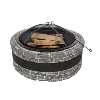 Sun Joe Fire Joe 35-Inch Cast Stone Fire Pit - Charcoal Gray