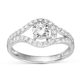 Charles and Colvard Sterling Silver Prong Round Moissanite Ring