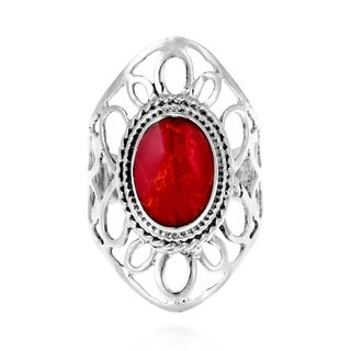 Splendid Flower Red Coral Inlay .925 Silver Ring (Thailand)