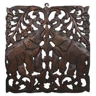Thai Elephant Calves Hand Carved Teak Wood Wall Art (Thailand)