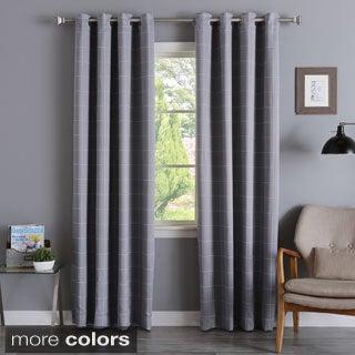 Grid Printed Room Darkening Grommet 84-inch Curtain Pair