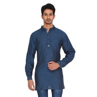 Shatranj Men's Kurta Tunic Banded Collar Solid Color Shirt (India)