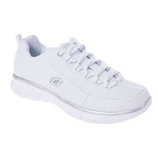 Skechers USA Sport Synergy-Elite Status Elite Leather Lace Up with Glimmer and Memory Foam Sneaker