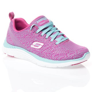 Skechers USA Sport Pink/ Light Blue Valeris Relaxed Fit Dual Color Skech-Knit Shoes with Air-cooled Memory Foam
