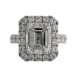 18k White Gold 6 3/4ct TDW Emerald-cut Diamond Halo Engagement Ring (J, VS)