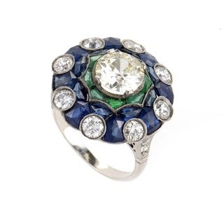 Antique Platinum Sapphire Emerald and 3ct TDW Diamond Estate Ring (G-H, SI1-SI2) (Size 7.75)