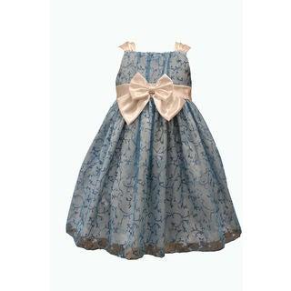 Mia Juliana Baby Girls' Glitter Dress with Satin Trim