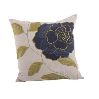 Embroidered Flower 18-inch Down Filled Throw Pillow