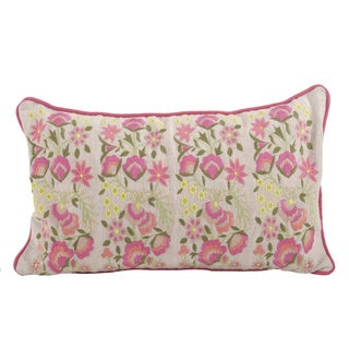 Embroidered Flower Down Filled Throw Pillow