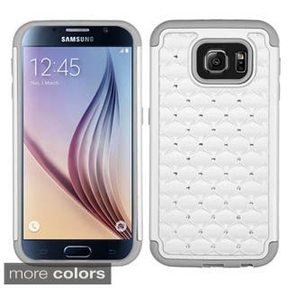 Insten Hard PC/ Silicone Dual Layer Hybrid Rubberized Matte Phone Case Cover with Diamond For Samsung Galaxy S6