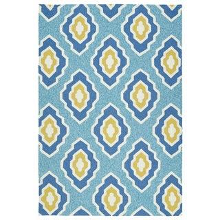 Handmade Indoor/ Outdoor Getaway Blue Geometric Rug (9' x 12')