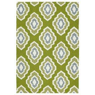Handmade Indoor/ Outdoor Getaway Apple Green Geometric Rug (9' x 12')