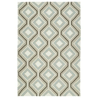 Handmade Indoor/ Outdoor Getaway Light Brown Geometric Rug (9' x 12')