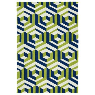Handmade Indoor/ Outdoor Getaway Navy Geometric Rug (9' x 12')