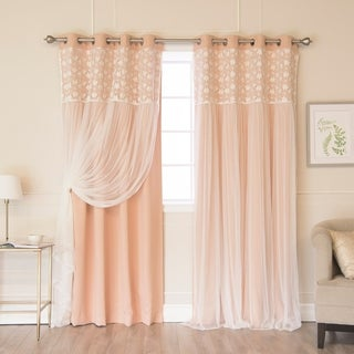 Floral Lace Overlay Thermal Insulated Blackout Grommet Top Curtain Pair