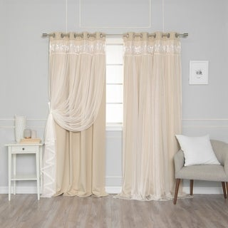 Lace Overlay Blackout Grommet Top Curtain Pair