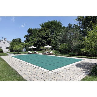 16 x 32 Green Mesh Pool Safety Cover with Left Step