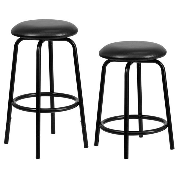 Backless Metal Dual Height Counter Or Bar Stool With