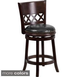 24-inch Wood Counter Height Stool with Leather Swivel Seat