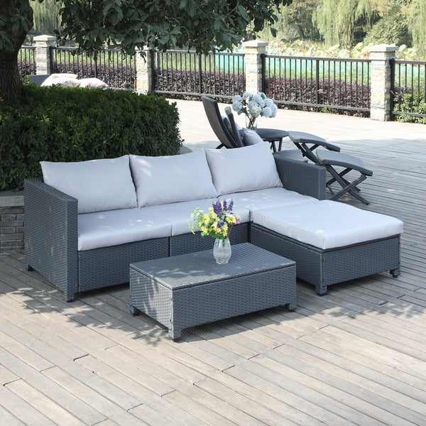 Portfolio Aldrich Grey 5 Piece Wicker Indoor Outdoor