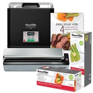 SousVide Supreme Demi Water Oven 9-Liter System Complete with Vacuum Sealer, Cookbook and over 50 Sealer Bags (Black Enamel)