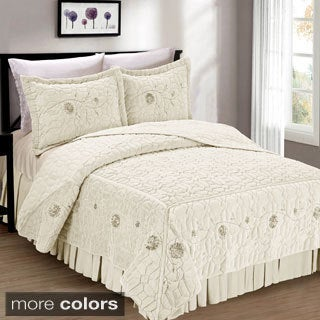 BNF Home Faux Fur Ribbon Embroidered 3-piece Bedspread Set