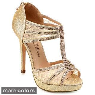 DE BLOSSOM COLLECTION DAISY-10 Women's Lace T-strap Stiletto Dress Heels