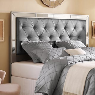 Silver King/California King Size Upholstered Tufted Mirrored Headboard