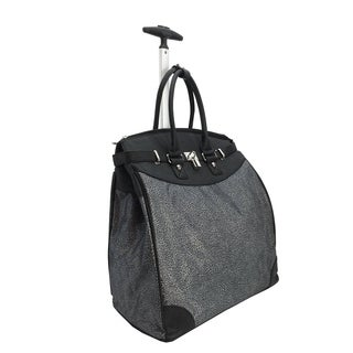 Black Micro Leopard Foldable Rolling Carry-on Tote Bag