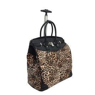 Wild Leopard Foldable Rolling Carry-on 14-inch Laptop/ Tablet Tote Bag