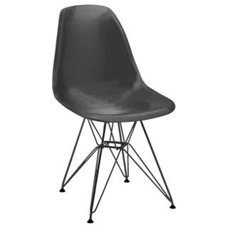 Mid Century Black Side Chair with Black Wire Base (Set of 5)