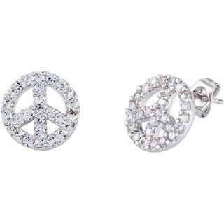 Simon Frank Rhodium-plated Cubic Zirconia Peace Symbol Earrings