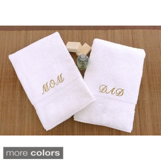 Authentic Hotel and Spa 2-piece 'Mom and Dad' Monogrammed Turkish Cotton Hand Towels