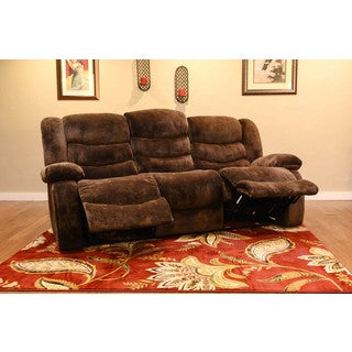 Somette Hudson Chocolate Brown Microfiber Motion Sofa