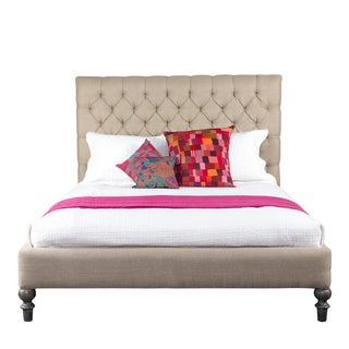 Sibelle Tufted Beige Fabric Salvaged Wood Queen Bed (India)