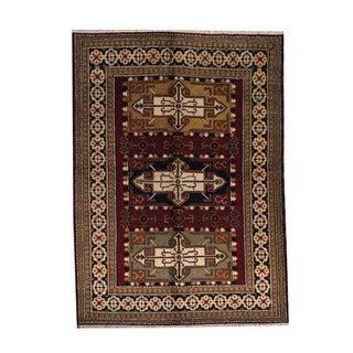 Herat Oriental Indo Hand-knotted Tribal Kazak Red/ Green Wool Rug (5'9 x 7'9)