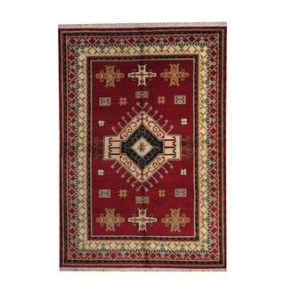 Herat Oriental Indo Hand-knotted Tribal Kazak Red/ Navy Wool Rug (6'3 x 8'11)