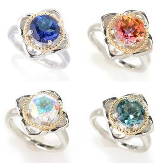 Two-tone Sterling Silver and 14k Topaz Flower Ring