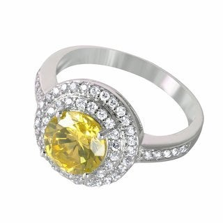 Sterling Silver White and Canary Round-cut Cubic Zirconia Double Halo Ring