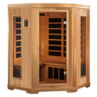 GDI HD Edition 3-person Far Infrared Carbon Natural Hemlock Wood Corner Sauna