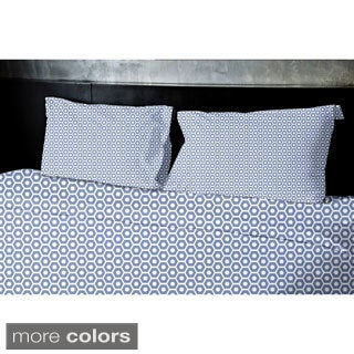 (68x88) Navy Blue, Light Blue, Aqua, Coral, Purple Twin Geometrics Printed Duvet Cover
