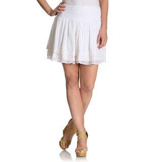 Chelsea & Theodore Women's elastic puckered waistband crochet trim skirt