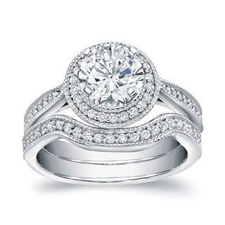 Auriya 14k White Gold 1 3/5ct TDW Round Certified Bridal Ring Set (I-J, I1-I2)