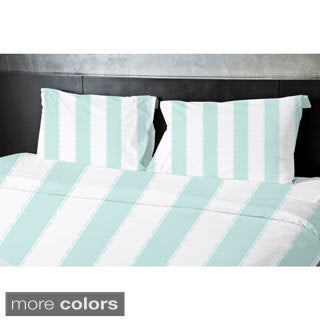 (68x88) Aqua, Sage, Grey, Coral, Taupe Twin Stripe Printed Duvet Cover