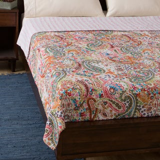 Cotton Kantha White Paisley Bed Cover
